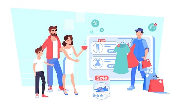 Счастливая семья, делающая покупки в интернет-магазине модной одежды
