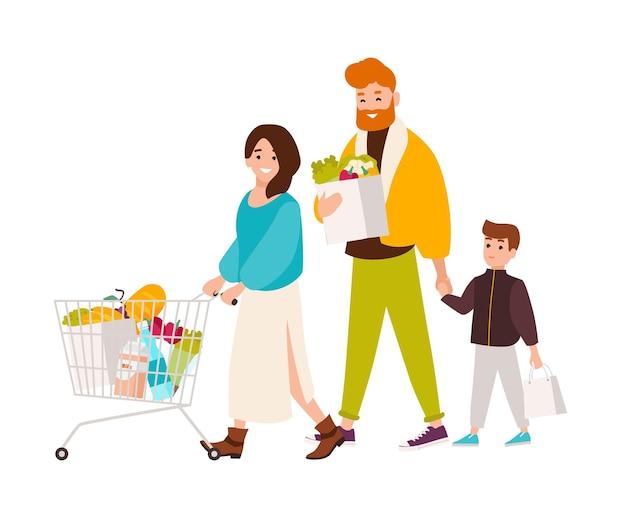 슈퍼마켓에서 쇼핑하는 행복한 가족. 웃는 어머니, 아버지, 아들이 식료품점에서 식품을 구입합니다. 흰색 배경에 고립 된 귀여운 만화 캐릭터입니다. 평면 스타일의 벡터 일러스트 레이 션.