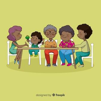 캐릭터 디자인 테이블에 앉아 행복 한 가족