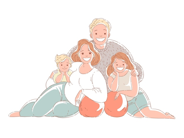 Happy family sitting on the floor and smiling