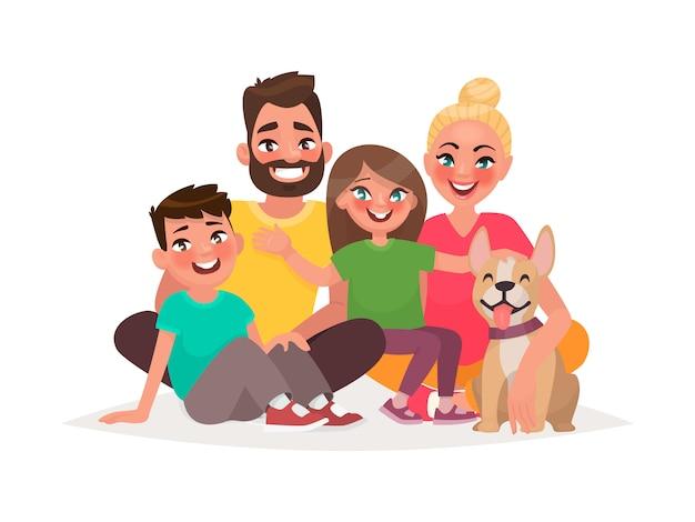 白い背景の上に座って幸せな家族。父、母の息子、娘、犬
