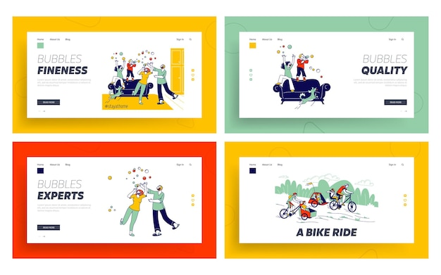 Happy family spare time landing page template set. characters parents, dog and kids blowing soap bubbles at covid19 quarantine isolation