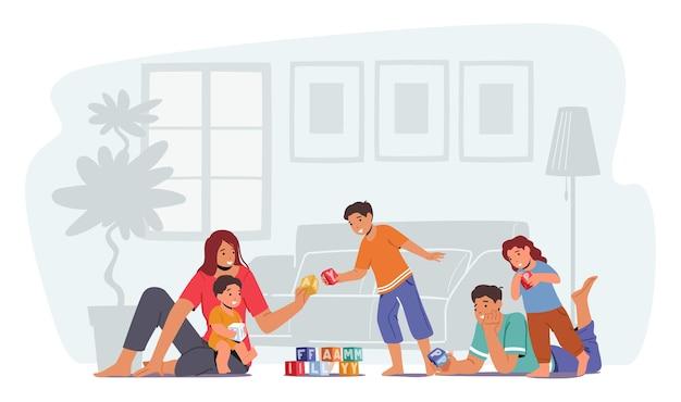 Счастливая семья, свободное время, родители с детьми, свободное время. отец и мать играют в игрушки с детьми, сидящими на полу. мама, папа, маленькие сыновья и дочь, любящие отношения. векторные иллюстрации шаржа