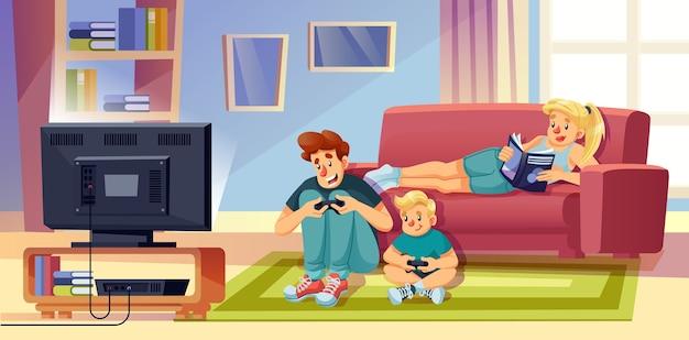 행복한 가족은 시간을 보냅니다. 부모, 여름 방학 주말에 함께 휴식하는 아이. 아버지, 아들 비디오 게임. 소파에 어머니 독서 책입니다. 집에서자가 격리