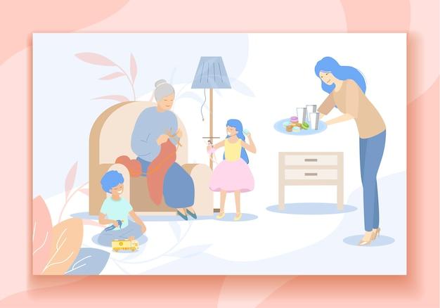 할머니와 함께 행복한 가족이 시간을 보내다