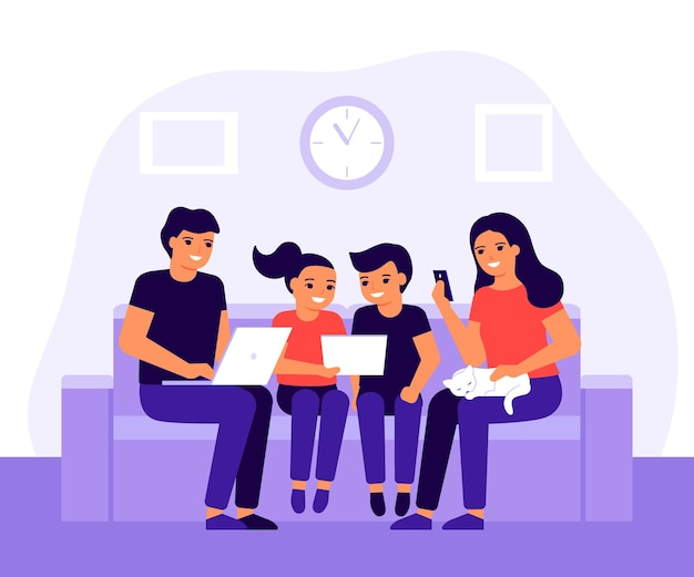 Happy family spends time together on couch at home using laptop mobile phone and digital tablet