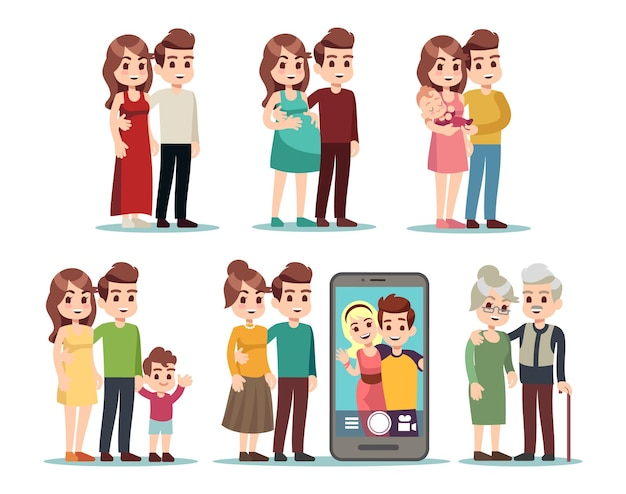 Happy family stages. cartoon kid parents, young mom father and baby. isolated pregnant woman, couple with newborn, video call with son. male female different ages vector illustration