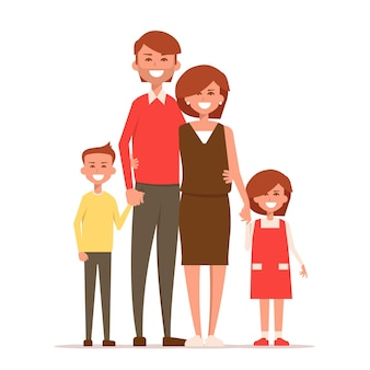 Happy family stand holding hands illustration