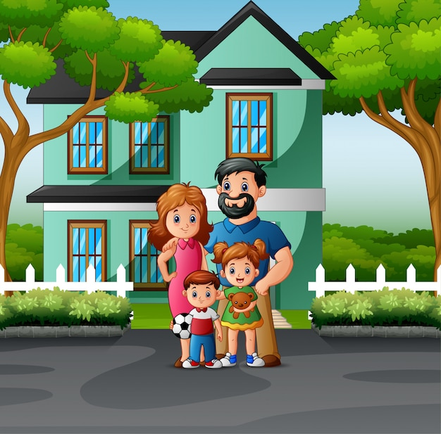 Premium Vector Cartoon Family In Front Of The House Yard