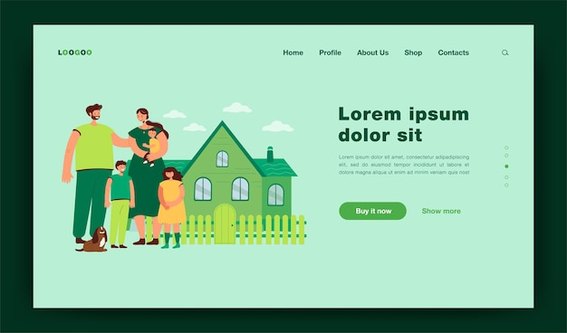 Happy family standing in front of new house. picture of mother,  father together with kids and dog. cartoon  illustration for love, family, home, real estate concept landing page