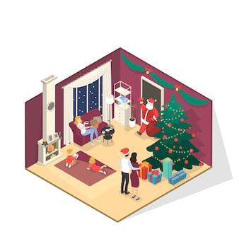 部屋に幸せな家族が立って、プレゼントがいっぱい入ったバッグでサンタクロースに挨拶します。隅に装飾が施されたクリスマスツリーが立っています。等角投影図