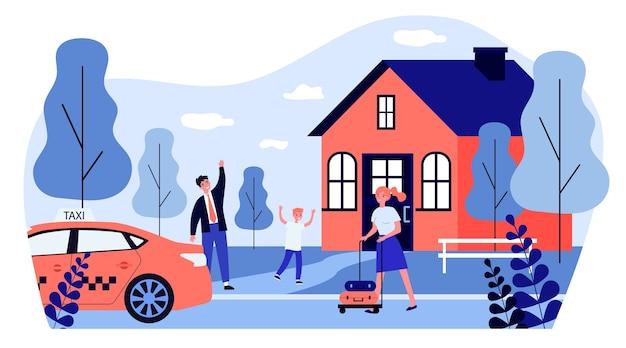 택시 근처에 서서 여자에게 손을 흔드는 행복한 가족