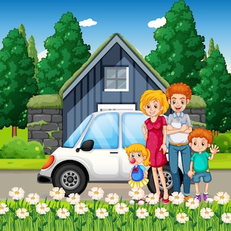 Happy family standing outside home with a car