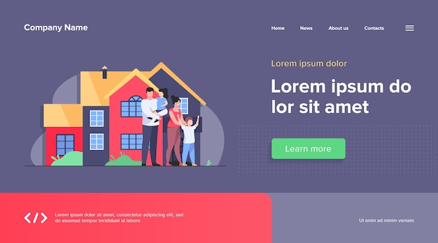 Happy family standing together in front of house web template. cartoon people posing for picture outside. happiness and love concept.