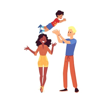 Happy family stands tossing up their son cartoon style