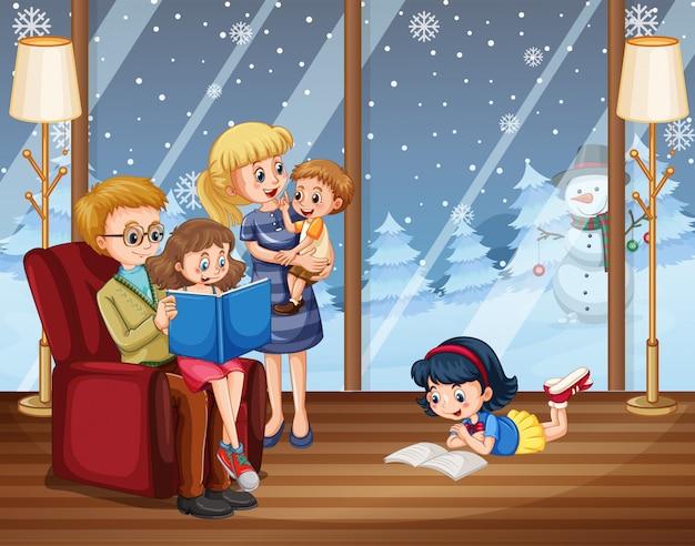 행복한 가족은 겨울 동안 집에 머물