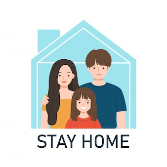 Happy family staying togethe. quarantine or self-isolation. stay home awareness social media campaign and coronavirus prevention. protection from virus. coronavirus outbreak concept.