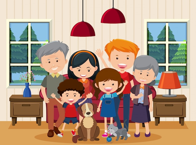 Happy family staying together at home