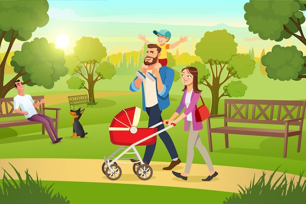 Happy family strolling with pram in park vector