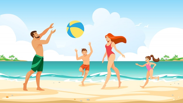 Happy family summer vacation leisure time at sea