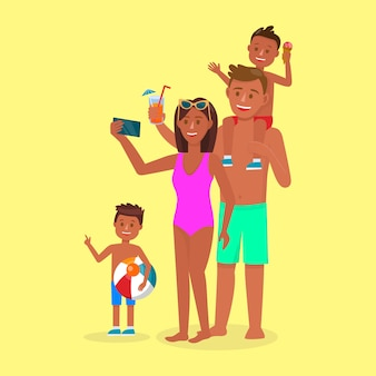 Happy family on summertime vacation. summer time.