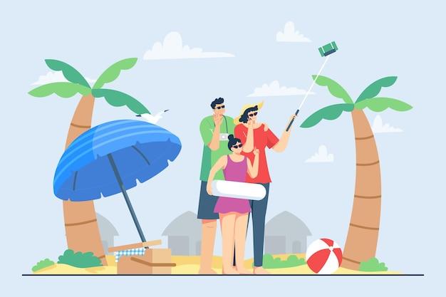 夏休みのイラストの間にビーチでselfieを取る幸せな家族