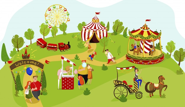 Happy family together in amusement park, summer funfair people, illustration