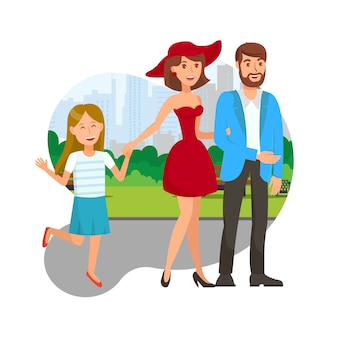 Happy family together flat vector illustration