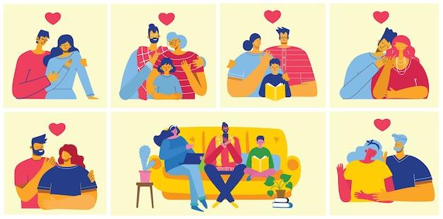 Счастливая семья вместе. иллюстрация в плоском дизайне