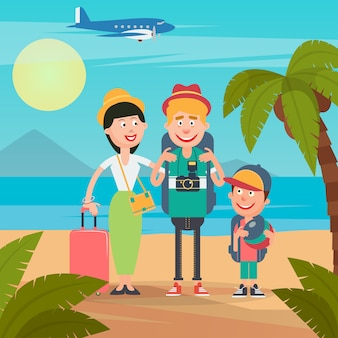 Happy family on travel by airplane. young family on the tropical vacation