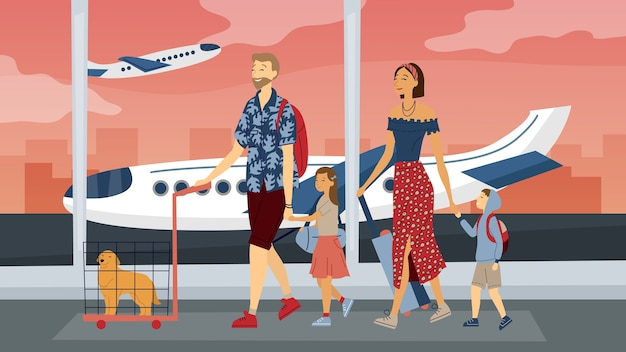 Happy family travel together. parents with children at the airport ready for vacation. flat style. vector illustration.