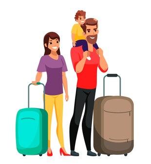 고립 된 수하물 가방 서와 함께 행복 한 가족 여행자입니다. 엄마, 아빠, 아들 여행