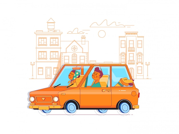 Happy family traveling together by car