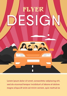 Happy family travelling in automobile isolated flat flyer template