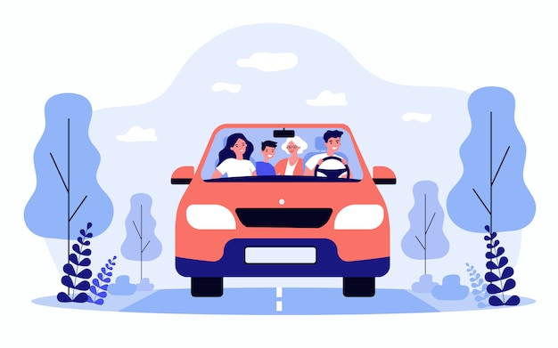 Happy family travelling in car isolated flat