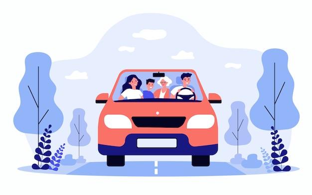 평면 절연 차에서 여행하는 행복 한 가족