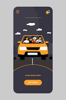 모바일 앱에 고립 된 차에서 여행하는 행복한 가족