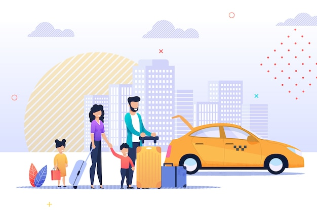 Happy family trip and taxi service illustration