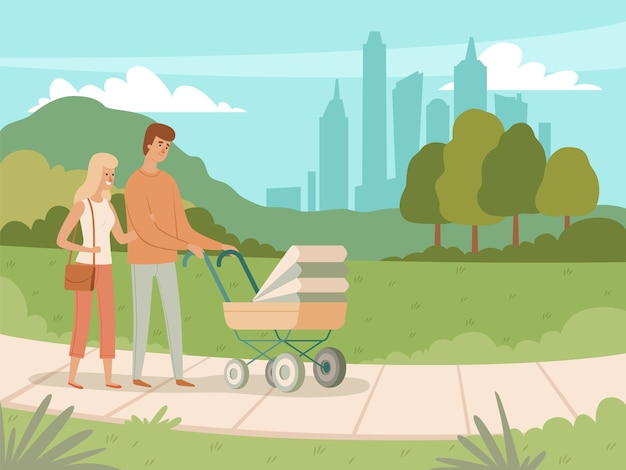 幸せな家族旅行。幸せな人々のキャラクターを遊んで公園を歩いて休暇公園の子供と親を歩く