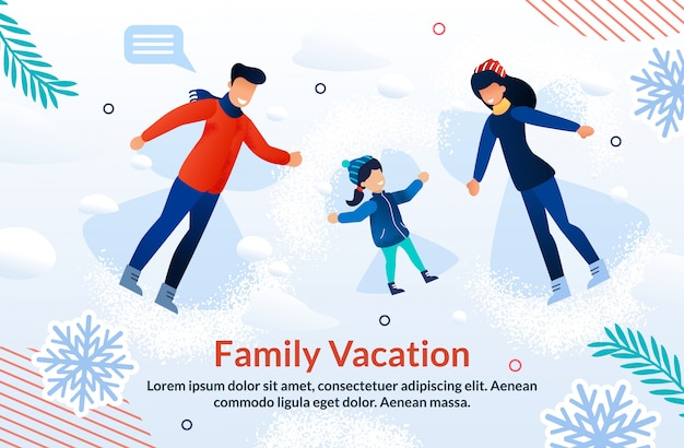 Happy family vacation and joyful time ad