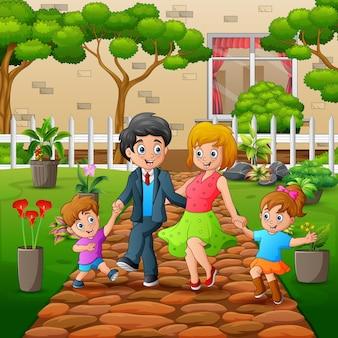 公園のイラストを歩いて幸せな家族
