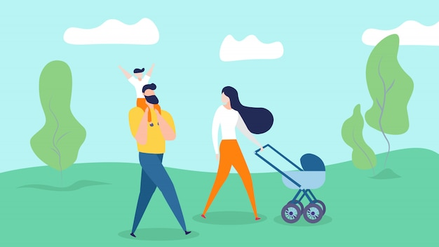 Happy family walking on nature background. young mother pushing baby carriage