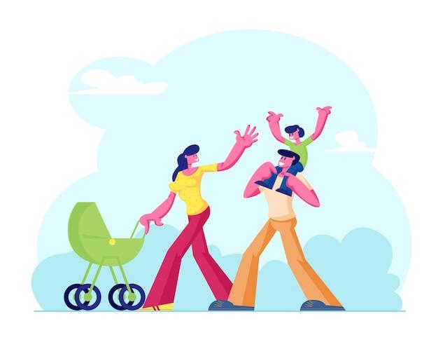 자연 배경에서 걷는 행복 한 가족. 만화 평면 그림