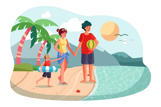 오션 비치를 따라 야외에서 산책하는 행복 한 가족