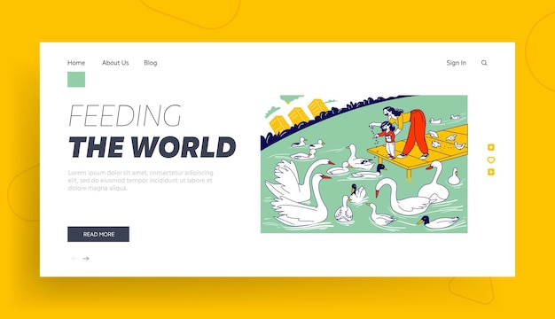 Happy family walking in park landing page template.
