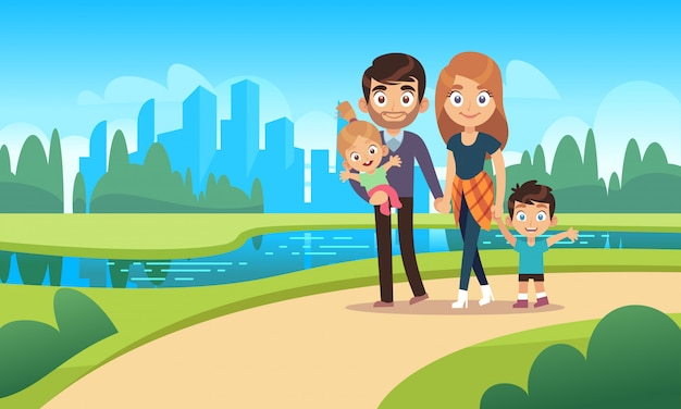 幸せな家族の散歩。散歩公園都市自然幸福家族キャラクター母父娘息子子供ペット漫画イラスト