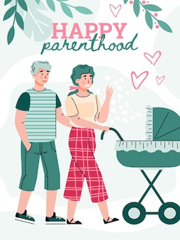 Happy family walks with a newborn baby lying in a pram a vector illustration