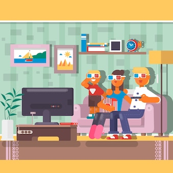 Happy family watching television together in house. flat vector illustration
