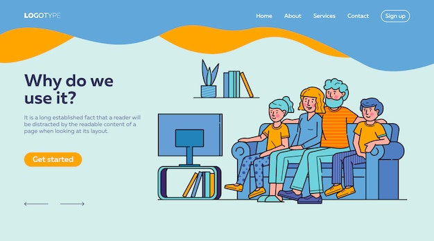 Happy family watching television together landing page template