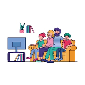 一緒にテレビを見て幸せな家族